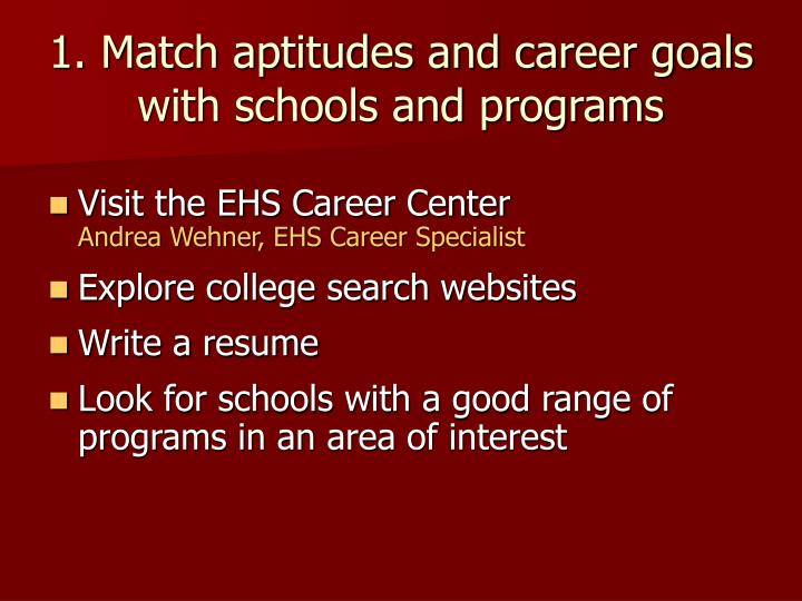 1. Match aptitudes and career goals with schools and programs