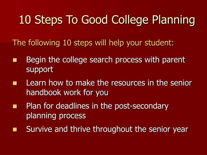 10 Steps To Good College Planning
