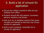6 build a list of schools for application