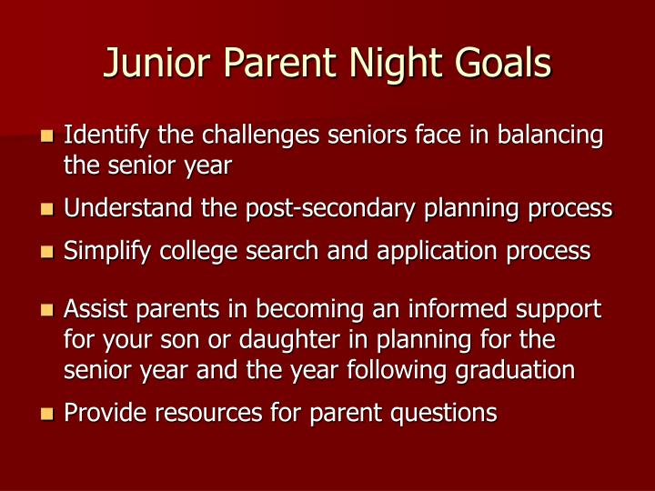 Junior parent night goals