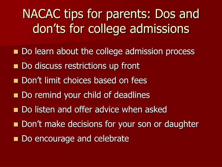 NACAC tips for parents: Dos and don'ts for college admissions