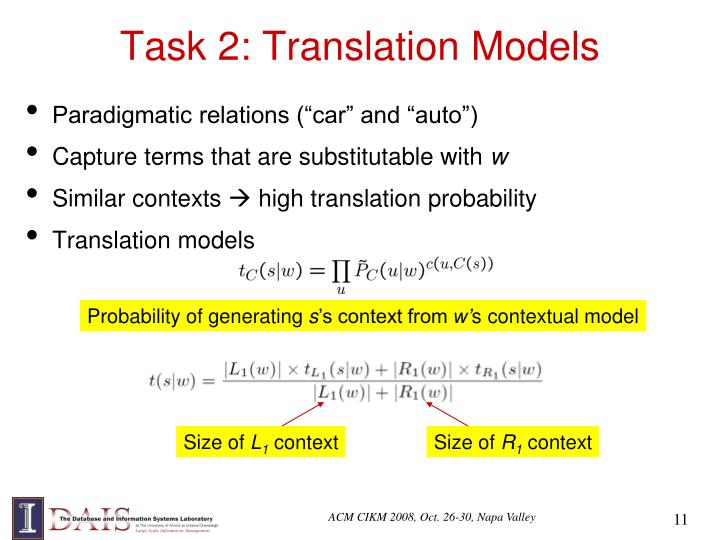 Task 2: Translation Models