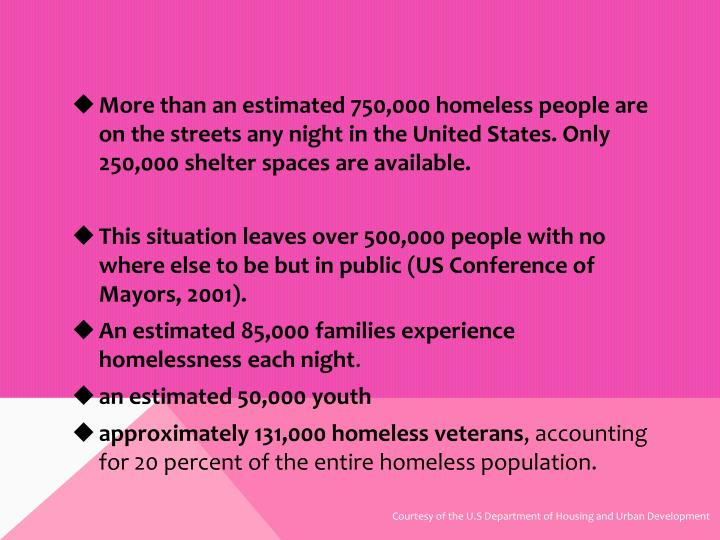 More than an estimated 750,000 homeless people are on the streets any night in the United States. Only 250,000 shelter spaces are available.
