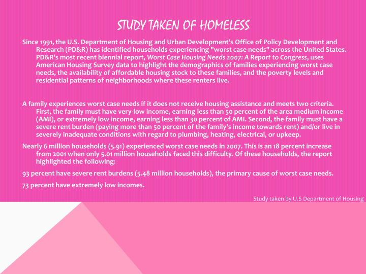 Study taken of Homeless