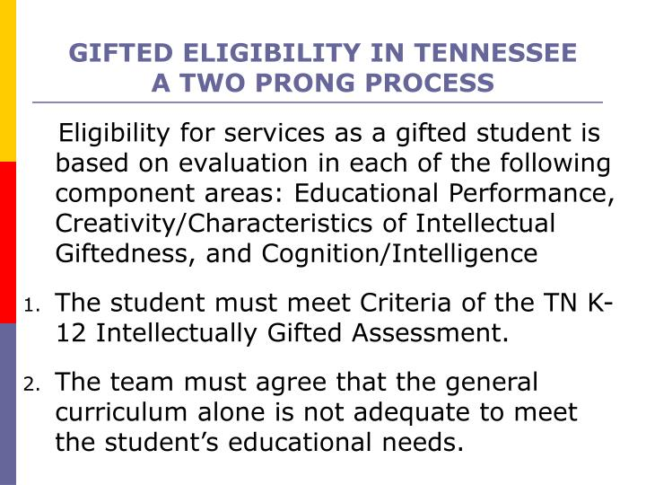 GIFTED ELIGIBILITY IN TENNESSEE