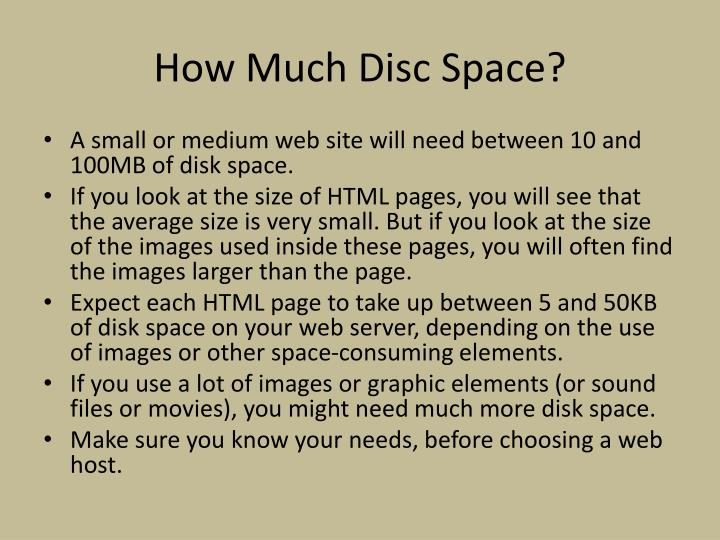 How Much Disc Space?