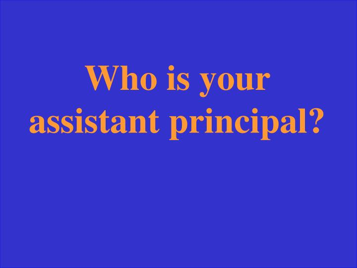 Who is your assistant principal?