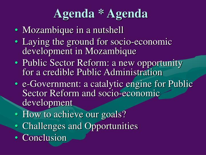 Agenda * Agenda