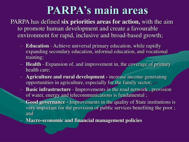 PARPA's main areas