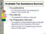 available tax assistance sources1