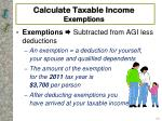 calculate taxable income exemptions