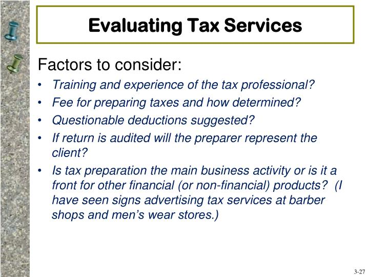 Evaluating Tax Services