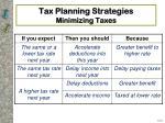 tax planning strategies minimizing taxes