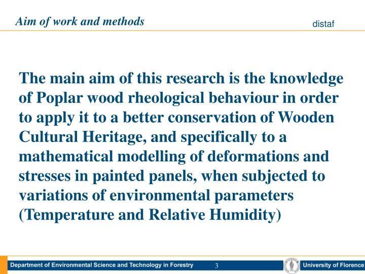Aim of work and methods