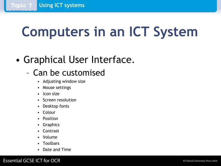 Computers in an ICT System