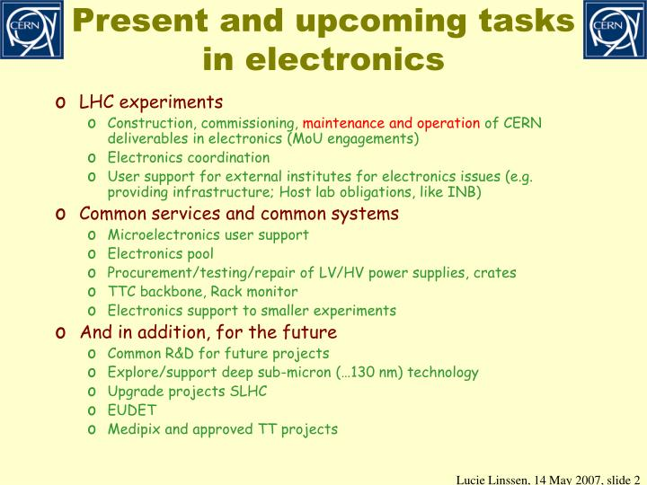 Present and upcoming tasks in electronics