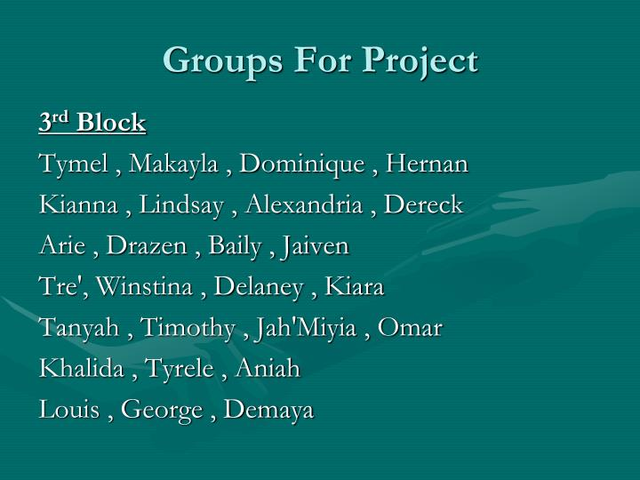 Groups For Project