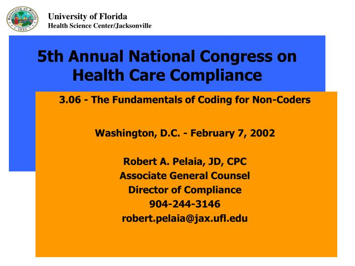 5th annual national congress on health care compliance