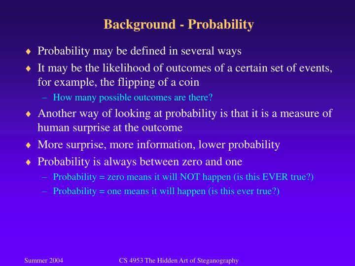 Background - Probability