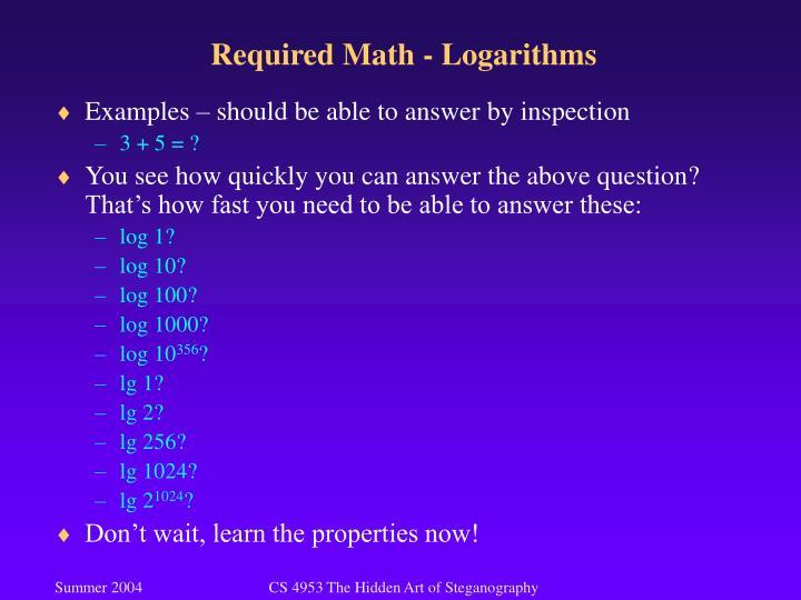 Required Math - Logarithms