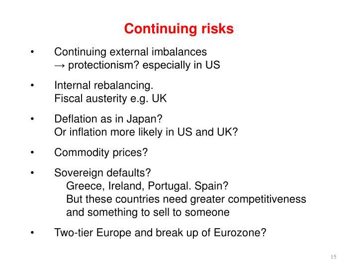 Continuing risks