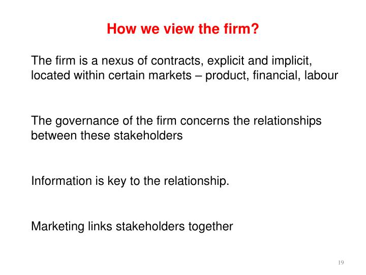 How we view the firm?