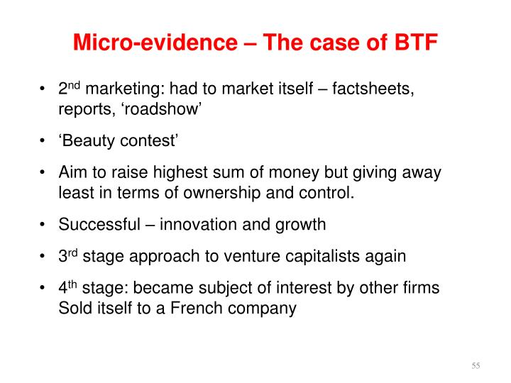 Micro-evidence – The case of BTF