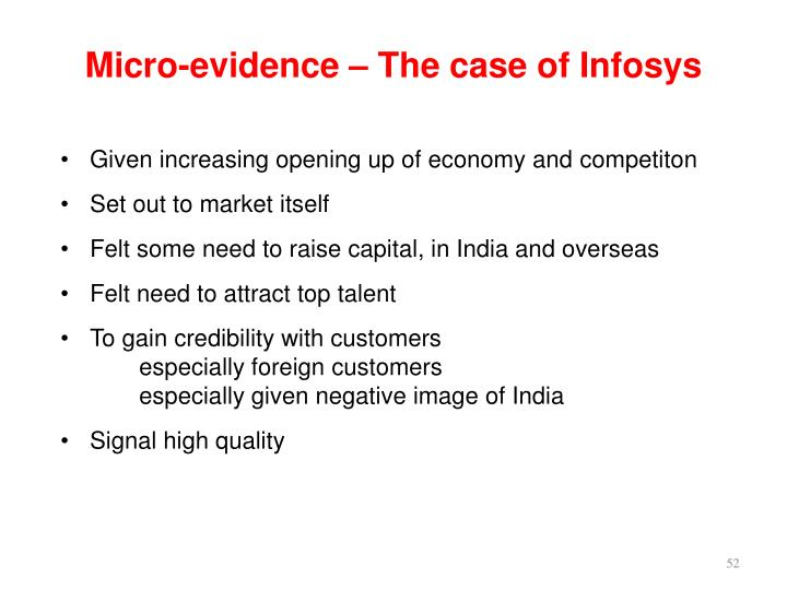 Micro-evidence – The case of Infosys