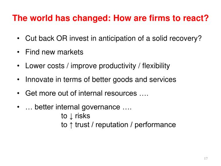 The world has changed: How are firms to react?