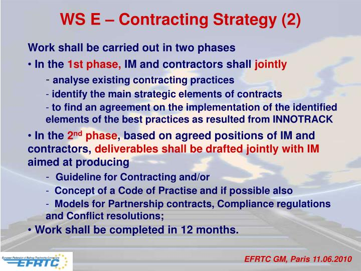 WS E – Contracting Strategy (2)
