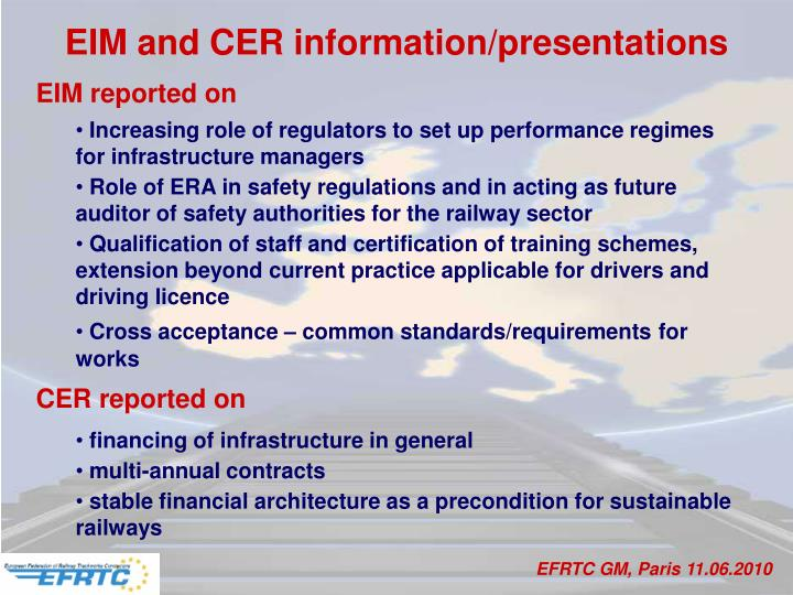 EIM and CER information/presentations