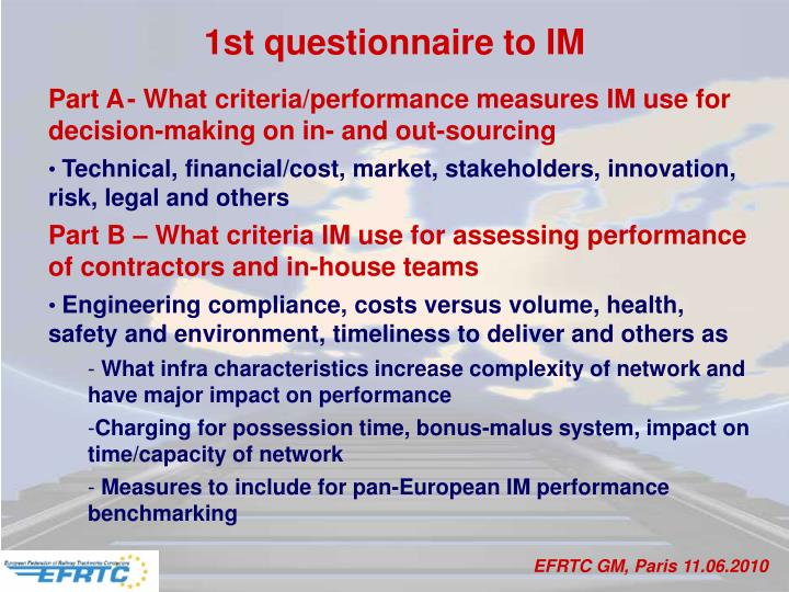 1st questionnaire to IM