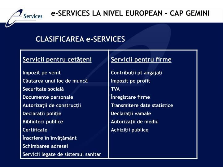 e-SERVICES LA NIVEL EUROPEAN – CAP GEMINI