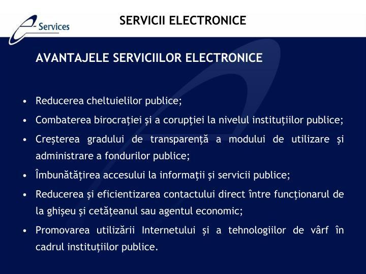 AVANTAJELE SERVICIILOR ELECTRONICE