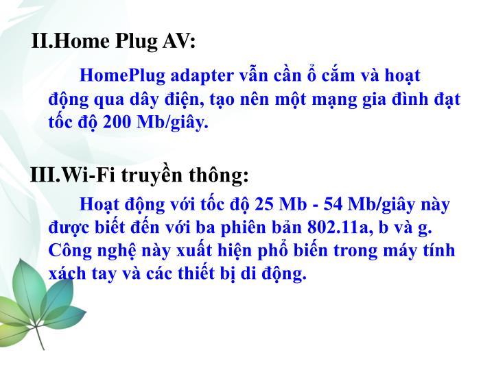 II.Home Plug AV: