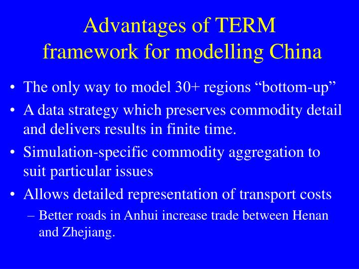 Advantages of term framework for modelling china