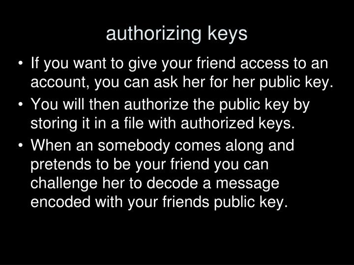 authorizing keys