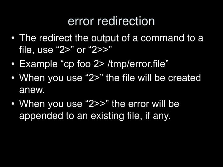 error redirection
