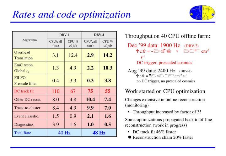 Rates and code optimization