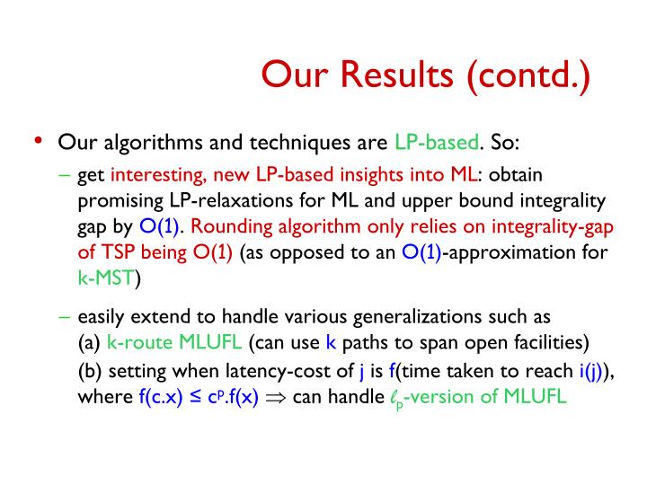 Our Results (contd.)