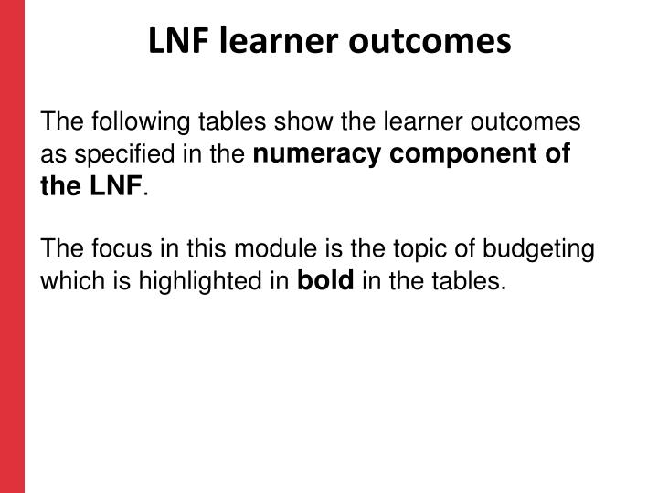 LNF learner outcomes
