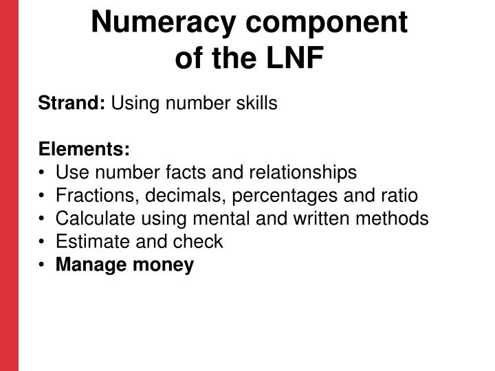 Numeracy component