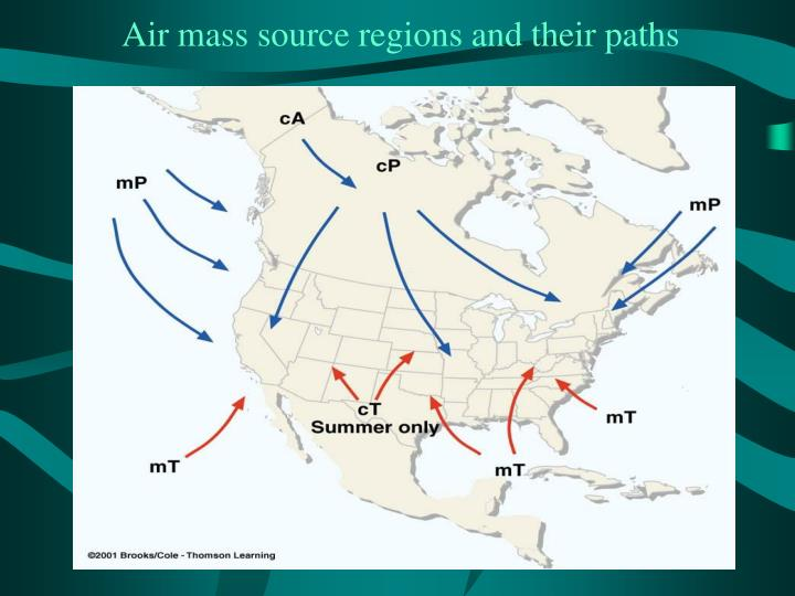 Air mass source regions and their paths