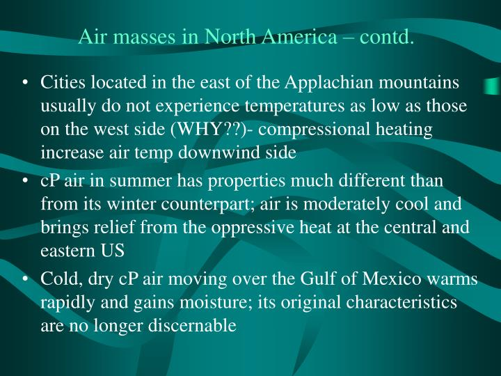 Air masses in North America – contd.