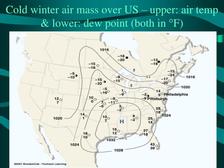 Cold winter air mass over US – upper: air temp & lower: dew point (both in
