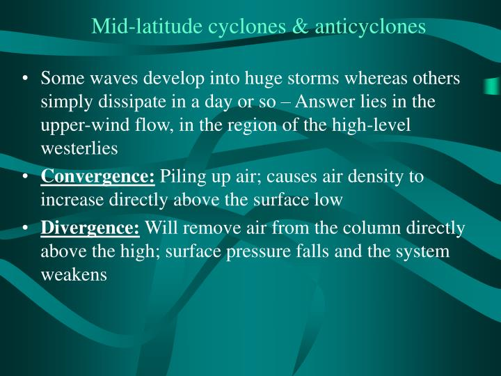 Mid-latitude cyclones & anticyclones