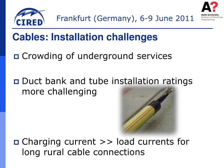 Cables: Installation challenges
