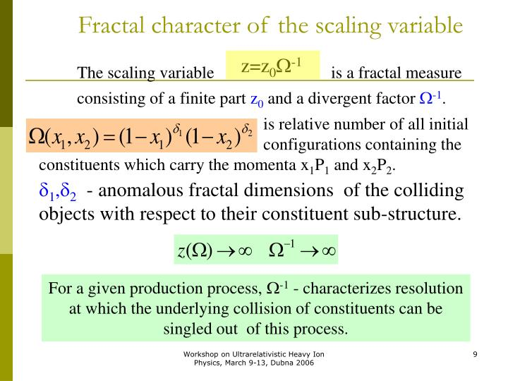 Fractal character of the scaling variable
