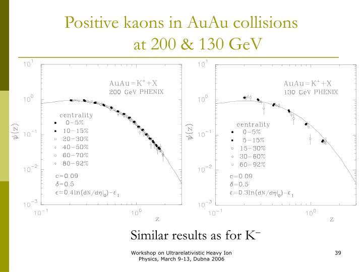 Positive kaons in AuAu collisions