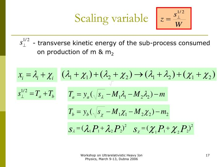 Scaling variable
